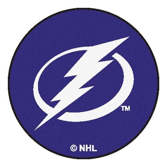 Tampa Bay Lightning puck shaped floor mat