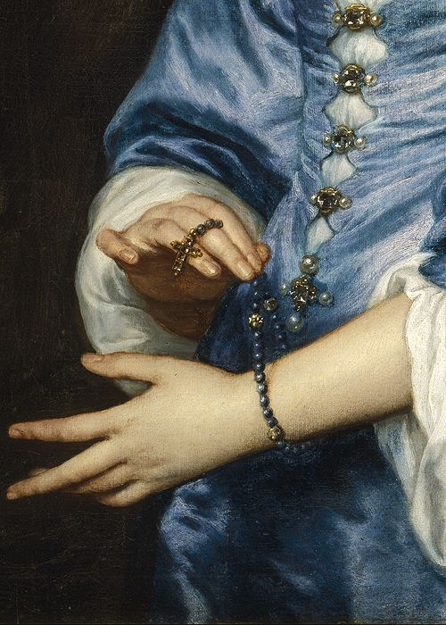 wycherley:  Anthony van Dyck (1599-1641), Portrait of Mary Ruthven, Lady van Dyck (detail), ca. 1639 (x)