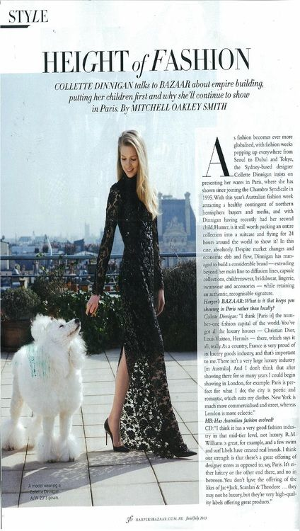 Harper's Bazaar June 2013 - Collette sat down with Harper's Bazaar for an exclusive interview about empire building, putting her children first and why she'll continue to show in Paris as well as a photo shoot on the iconic rooftop of Le Meurice following her AW13 Paris Runway show.
