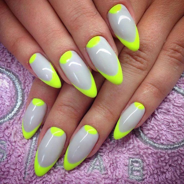 by Natalia Kondraciuk Indigo Young Team :) Follow us on Pinterest. Find more inspiration at www.indigo-nails.com #nailart #nails #indigo #neon #adidas #neon #yellow #topsecret