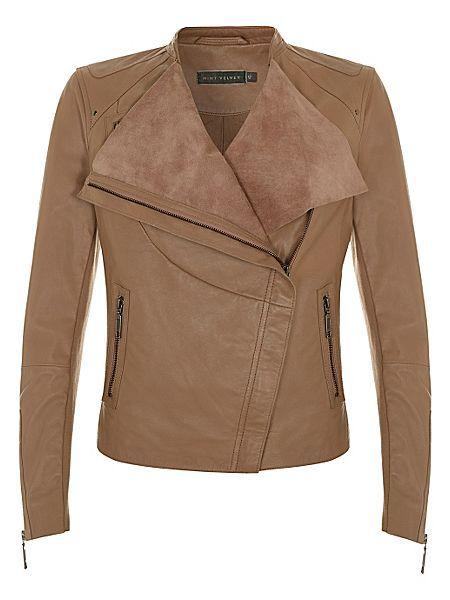 Mint Velvet brown taupe leather jacket