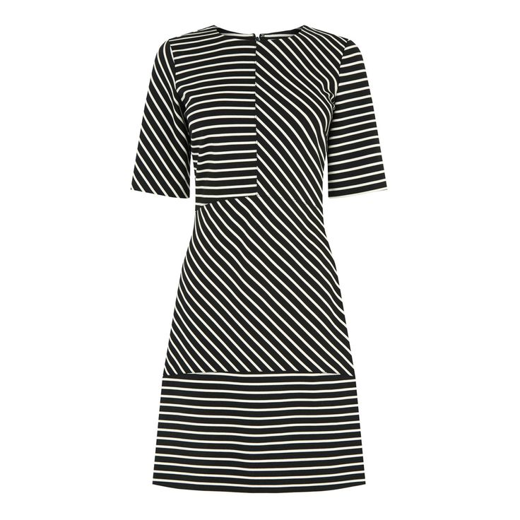 Stripe Ponte Panelled Dress | Warehouse