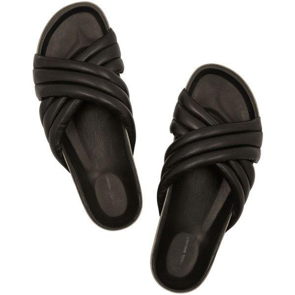 Isabel Marant Holden leather slides (4 310 SEK) ❤ liked on Polyvore featuring shoes, sandals, leather shoes, black shoes, cushioned shoes, real leather shoes and isabel marant sandals