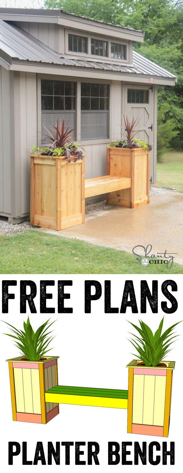 DIY Planter Box Bench Free Printable Plans...