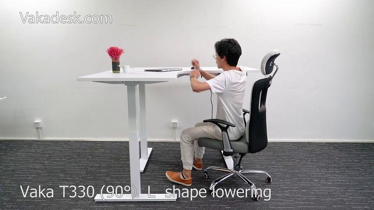 Vaka Height Adjustable Standing Desk  T330( 90°)L  shape lowering