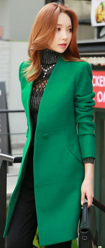 StyleOnme_Single Button Collarless Long Jacket #green #jacket #fallfashion #kfashion #chic #unique #