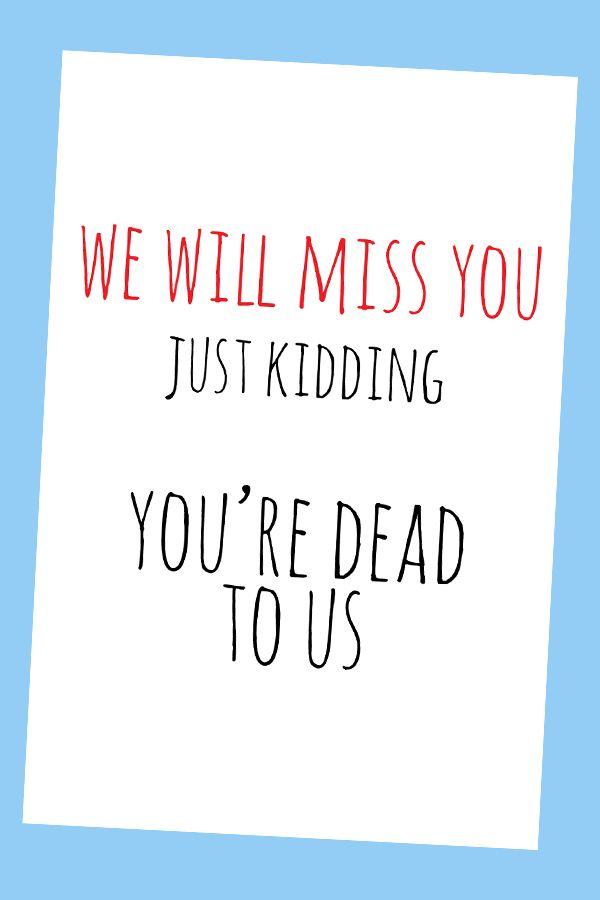 Going Away Card Farewell Card Funny Goodbye Card Leaving Card