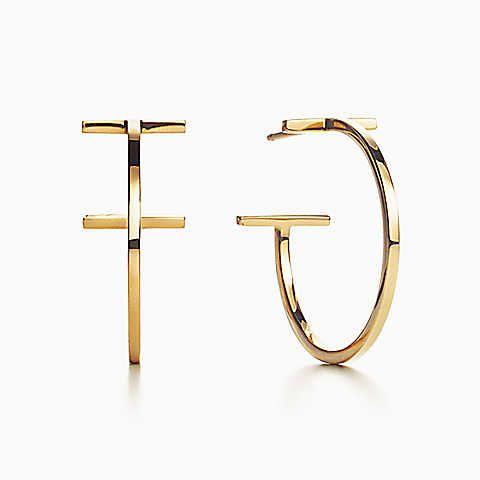 Tiffany T wire hoop earrings in 18k gold, medium.