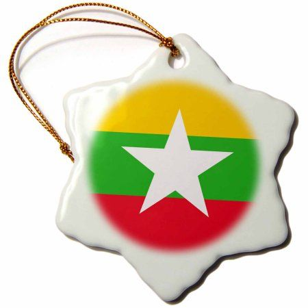 3dRose Flag of Myanmar Burma - Burmese yellow green red stripes with white star - Asia country world flags, Snowflake Ornament, Porcelain, 3-inch