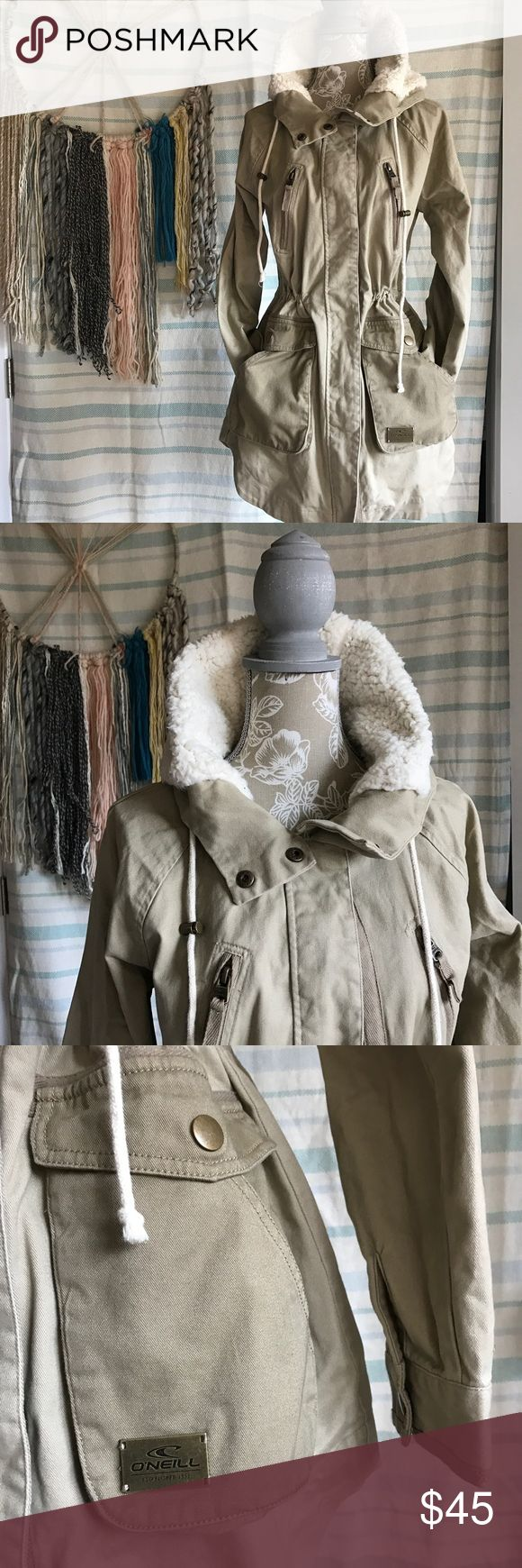🐑O'Neill faux jacket Never been used new without tags O'Neill jacket size small. The hoodie has faux wool but it's really soft. Jacket is very flattering because there are drawstrings that accentuate the waist⭐️please ask questions⭐️please reference pictures⭐️ O'Neill Jackets & Coats Trench Coats