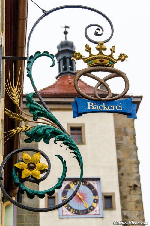 Bakery shop sign in ~ Rothenburg ob der Tauber, Germany.