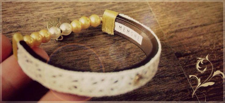 Yellow Memshe Slim / leather bracelet for her / 2015 summer