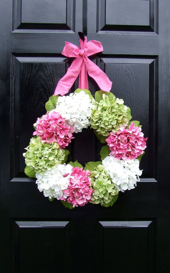 Hydrangea Spring Wreath LG  Pink Green and by MonicaMurrayHome, $90.00