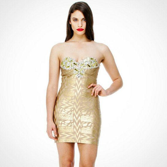 Gold Dress - Metallic Gold Strapless Dress