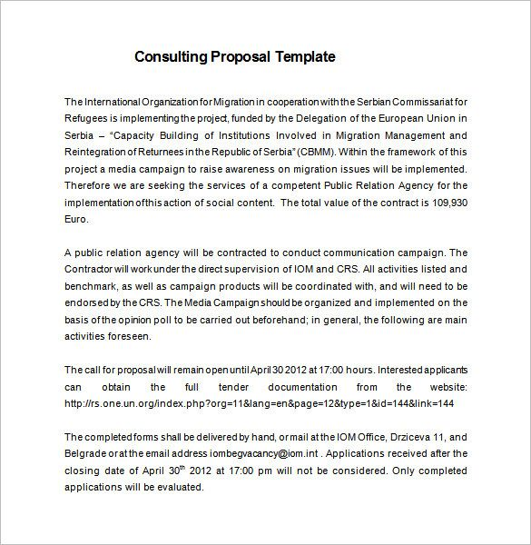 Consulting Proposal Template Proposal Templates Project