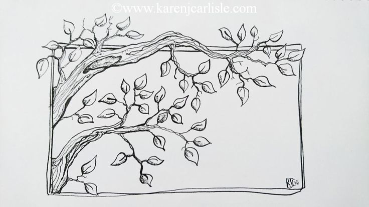 Day 14: Prompt: Tree I tried drawing the trunk and branches with one continuous line, only lifting to re-fill the nib with ink.  copyright 2016 KarenCarlisle.
