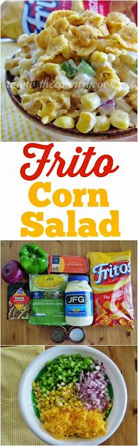 Frito Corn Salad recipe from The Country Cook. This is a must-make at my barbeque! Make this corn salad and serve with the Fritos Scoop Chips or just stir the broken corn chips right in. Either way - SO good! Everyone LOVES this stuff!