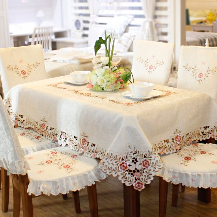 Flowers embroidered floral cream tablecloths