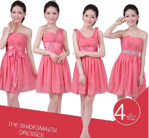Blush Bridesmaid Dresses Short Chiffon Bridesmaid Dresses 4 Style Cheap Bridesmaids Dress Short Wedding Party Dress  US $29.79