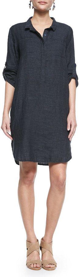 Eileen Fisher 3/4-Sleeve Organic Linen Henley Dress, Denim