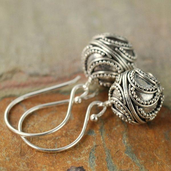 Dotted Sterling silver Bali dangle earrings