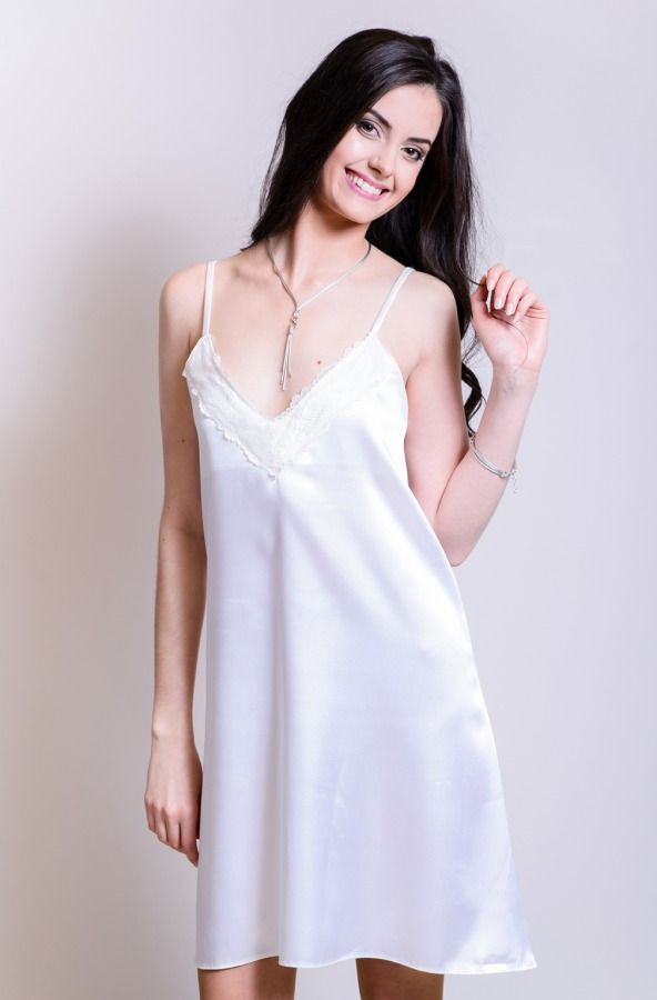 White satin dress from SOVL collection. Decorated with French lace.
