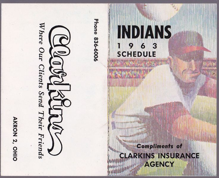 1963 CLEVELAND INDIANS CLARKINS INSURANCE BASEBALL POCKET SCHEDULE EX+NM  #Schedule