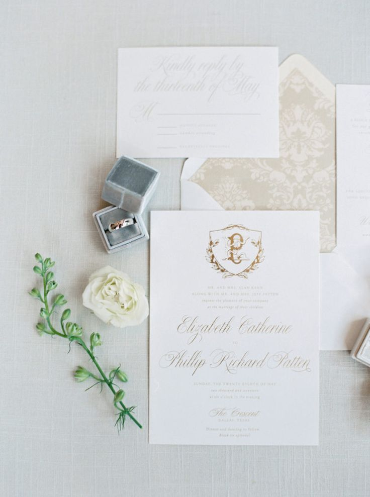 Classic white and gold wedding invitations with
