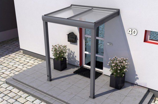 REXOvita Haustür-Vordach: 2,00 x 1,50m mit 16mm Stegplatten