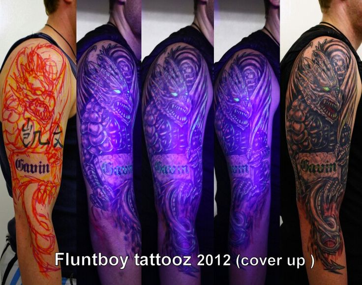 Cover up dragon sleeve tattoo with UV ink by fluntboy