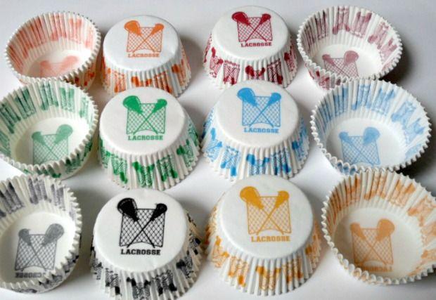 Lacrosse Cupcake Holders.