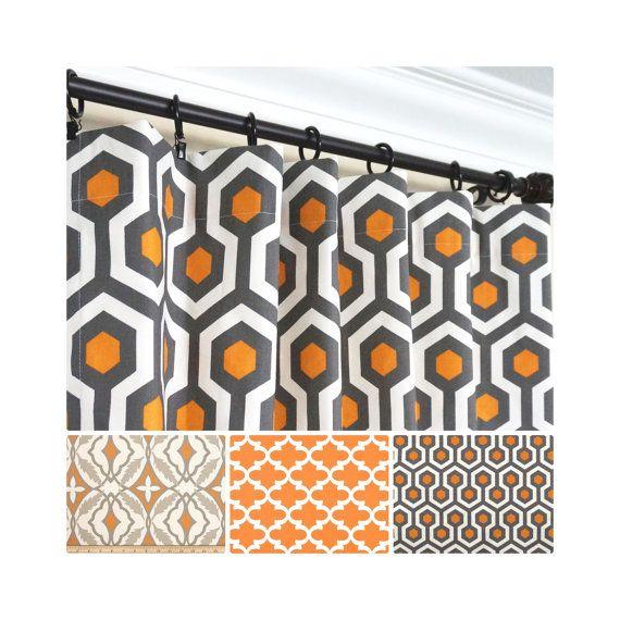 Orange Window Curtains.Grey Curtain Panels.Orange Kitchen