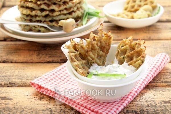 Готовые вафли из картофеля с укропом