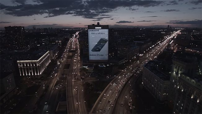 Samsung's latest campaign in Russia has been completed with the intention to really assert their dominance in the 'large' mobile phone market. This week, the brand installed a massive 80-by-40 meter digital billboard onto the side of a building in Sokol, Russia.