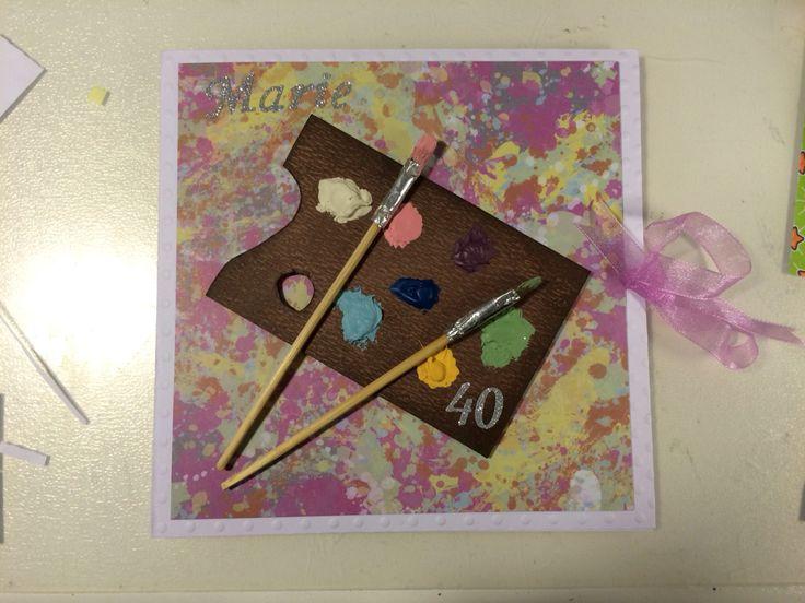 Palettkort till en kompis som fyller år. #palett #kortmakeri #40 år
