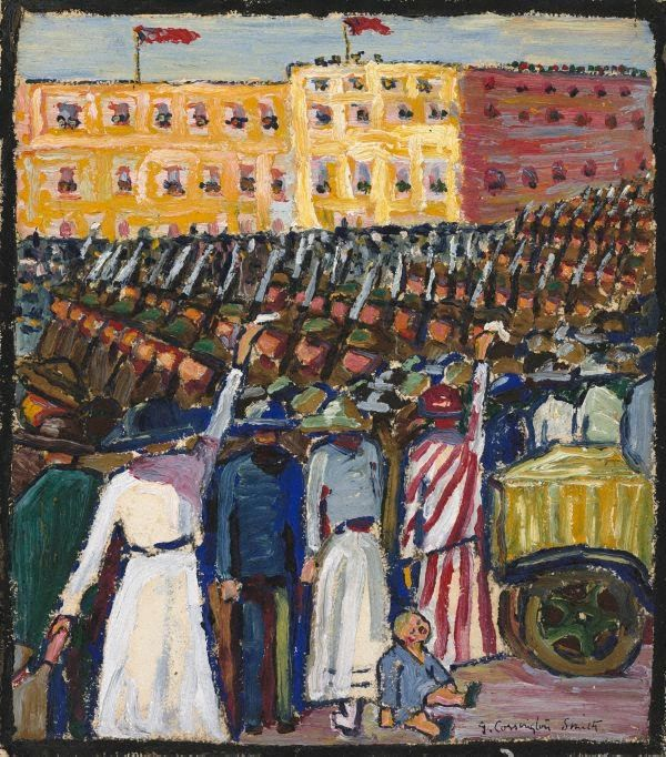 Reinforcements: troops marching, (circa 1917) by Grace Cossington Smith :: The Collection :: Art Gallery NSW