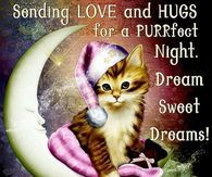 Sending Love And Hugs For A Purrfect Night. Sweet Dreams, God Bless You!