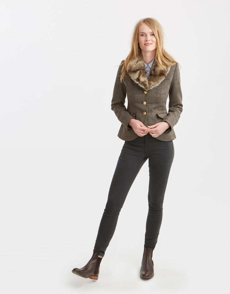 Willa Isla Herringbone Tweed Blazer | Joules US
