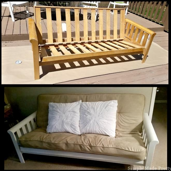 before and after painted futon white futon diy futon painted furniture best 25  white futon ideas on pinterest   sofa bed with chaise      rh   pinterest