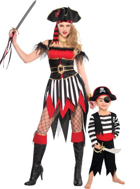 Pirate Mommy and Me Costumes...umm...I am thinking if you are going to be dressing like this at a party you probably shouldn't be having your son there with you...haha just a thought...