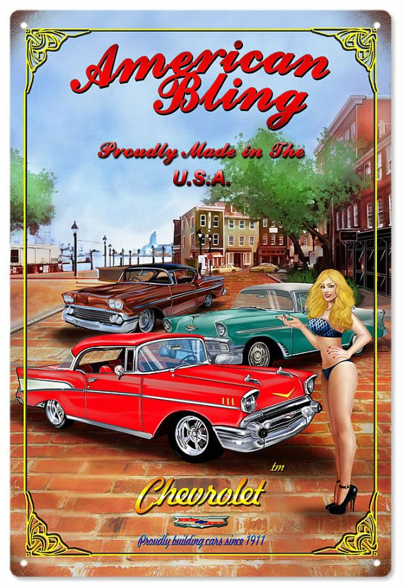 American Bling Pin Up Girl Hot Rod Sign 56 57 58 Chevy