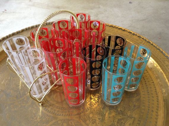 Set of 13 Mid-Century Asian 16 oz Bar Glasses in Teal, Red, White and Black - Comes With Original Carrier