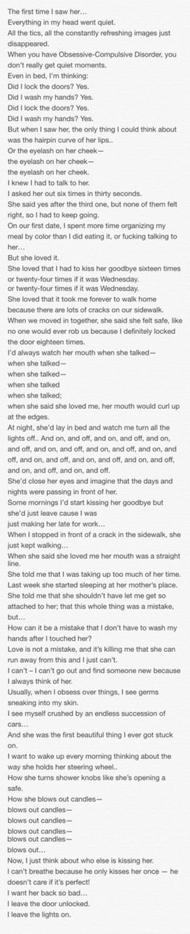 Poem that describes perfectly what's like to love someone with OCD.  #Poem #OCD #Love