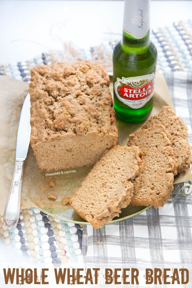 Whole Wheat Beer Bread ready in minutes and made with any beer! Perfect for St. Patrick's day or any day!   chocolateandcarrots.com