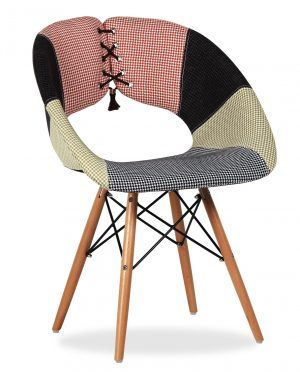Unique Creative Chair Patchwork Edition In Black And Beige Color Also Be Reinforced By Black Rope On Back Rest As Well As Wooden Frame Legs