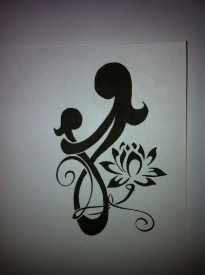 Love the lotus flower with Initial 30 Mother Daughter Tattoos Ideas