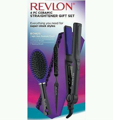 Revlon Ceramic Hair Straightener Gift Set Purple 4 pc Brush Flat Iron Teasing  in Health & Beauty, Hair Care & Styling, Curling & Straightening Irons   eBay