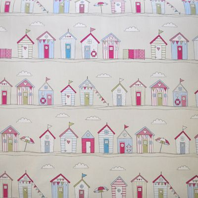 Beach Huts Stripe Pink On In Kids Fabric For Curtains Bedding