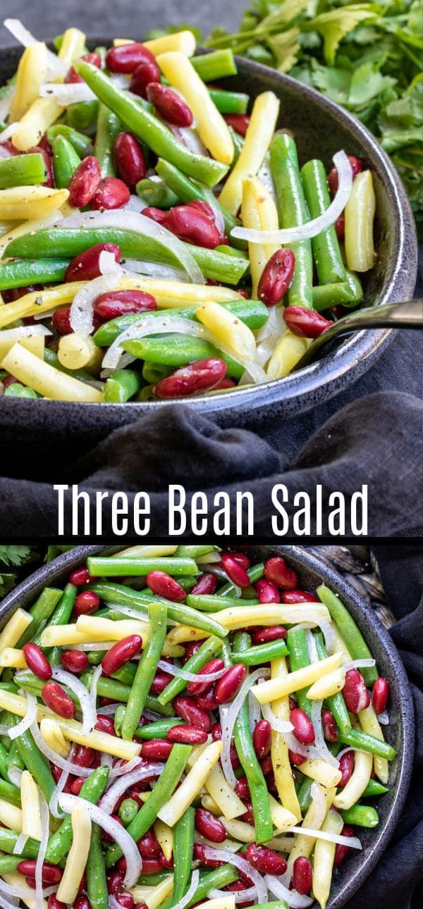 This easy Three Bean Salad is the BEST classic salad recipe for summer potlucks….
