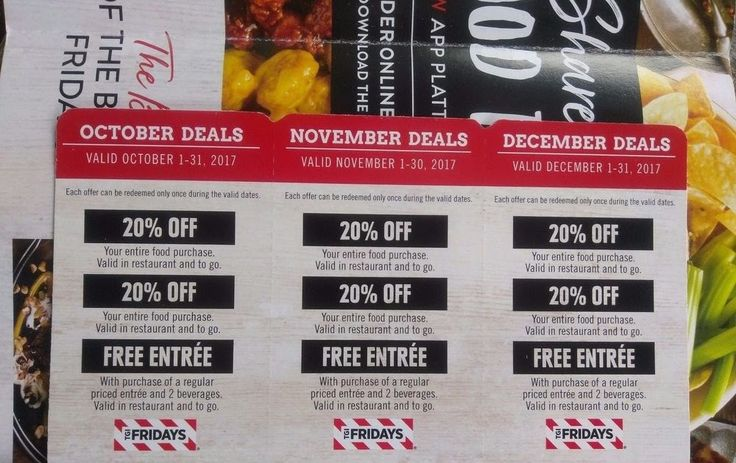 TGI Fridays Restaurant Coupons Promo - October November December 2017 Deals